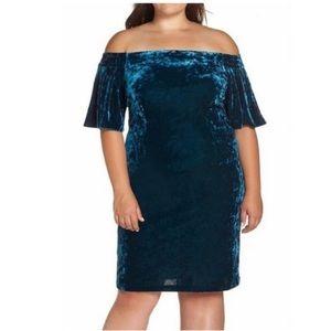 Eliza J Off Shoulder Dress BLUE Crushed Velvet